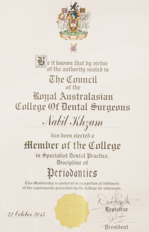 Council of Then Royal Australian College of Dental Surgeons - Member as a Specialist in Periodontics