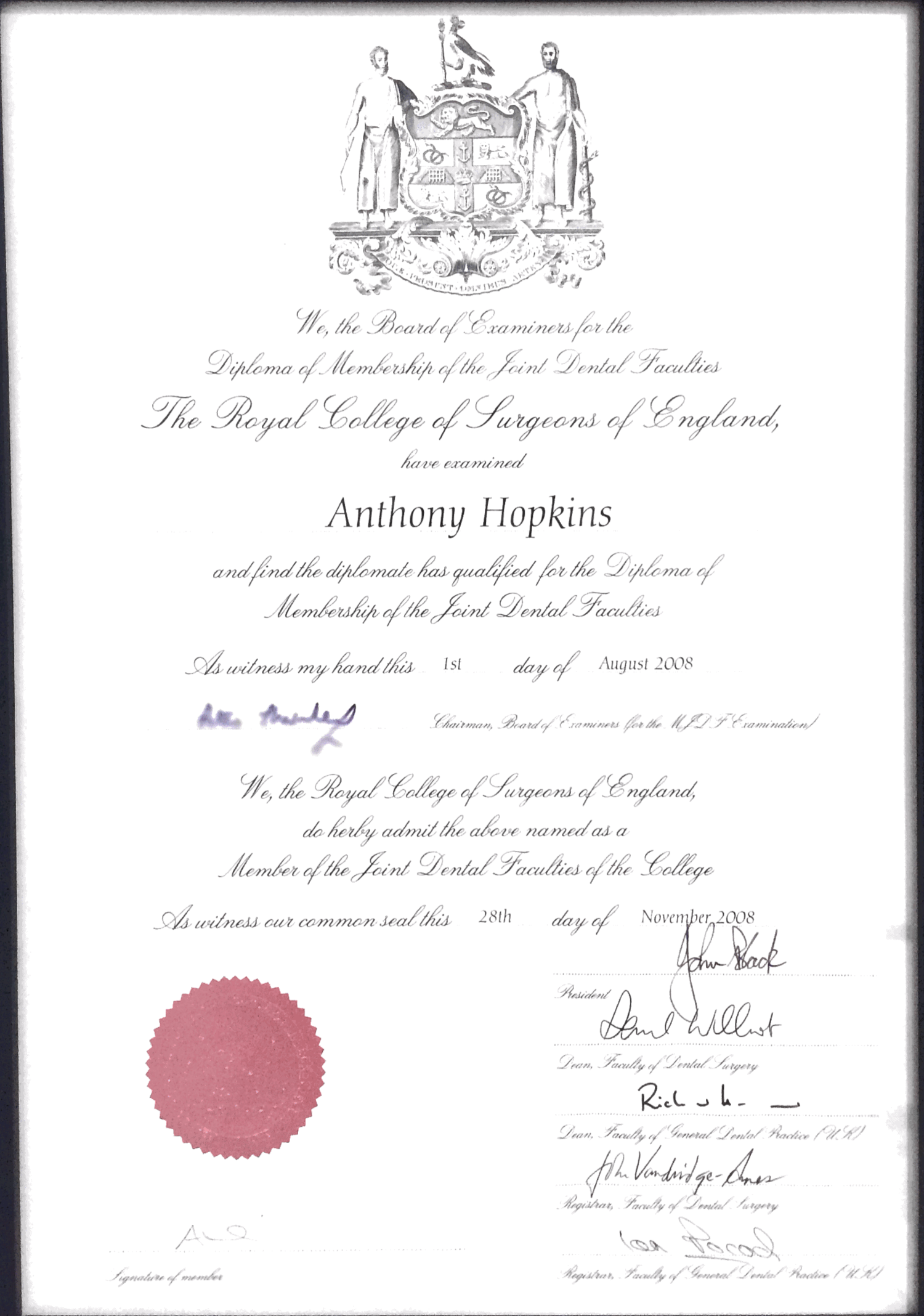Diploma of membership awarded by the Royal College of Surgeons England