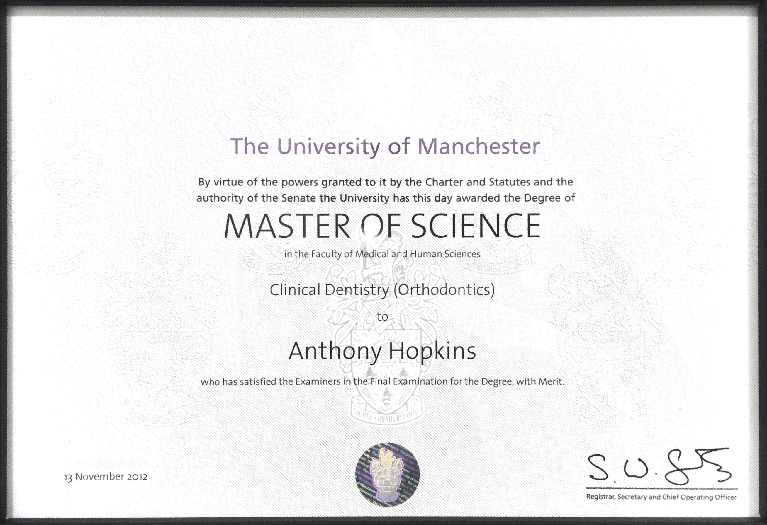 The University of Manchester, Mast of Science in Clinical Dentistry (Orthodontics)